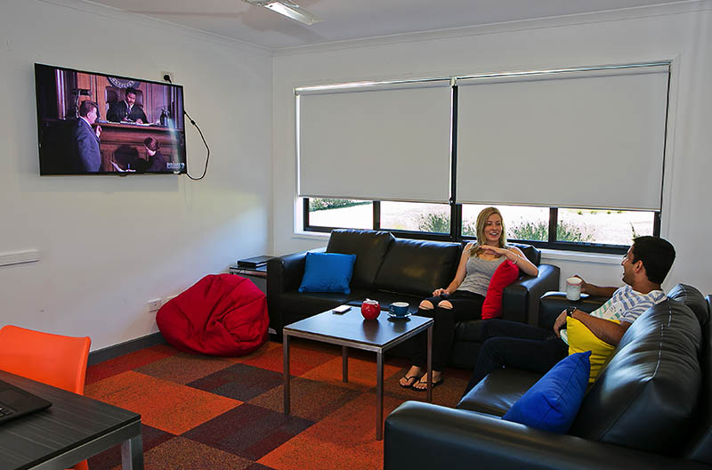 Students chatting in a lounge area