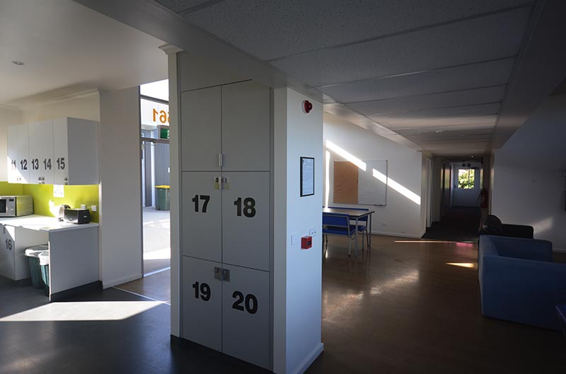 Common area and numbered food lockers